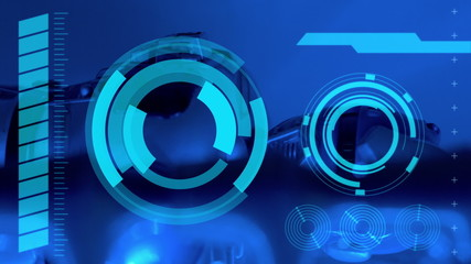 robot and holograms interface, abstract blue background
