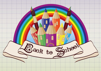 Back to School. Magic  school castle card, vector