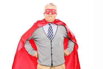 Elderly in superhero costume