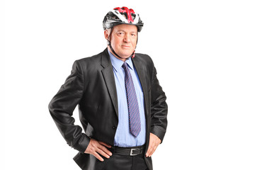 Mature businessman with sports helmet