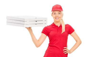Pizza delivery girl holding boxes