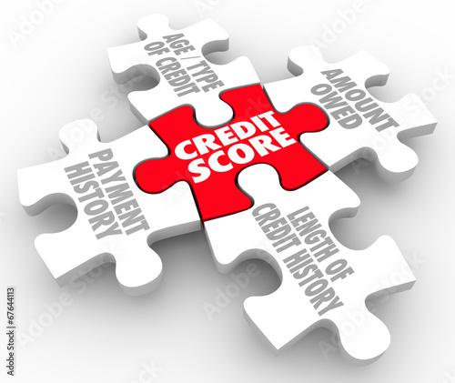 Credit Score Rating Puzzle Pieces Factors Payment History
