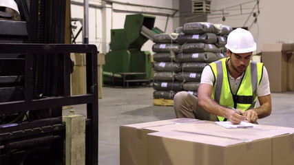 Warehouse worker checking cardboard boxes for shipping
