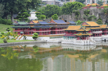 Miniatures of Chinese buildings in the Window of the World park