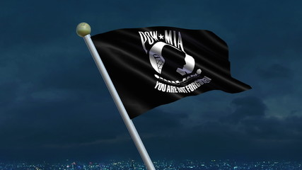 Looping POW/MIA Flag animation with sky background