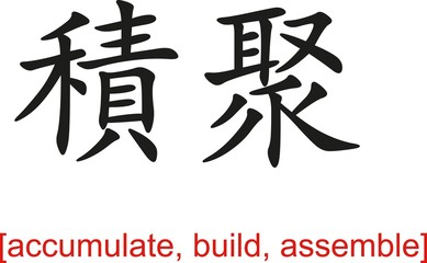 Chinese Sign for accumulate, build, assemble
