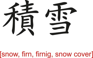 Chinese Sign for snow, firn, firnig, snow cover