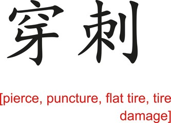Chinese Sign for pierce, puncture, flat tire, tire damage