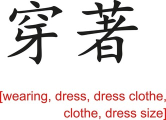 Chinese Sign for wearing,dress, dress clothe, clothe,dress size