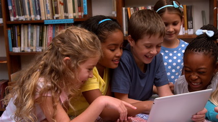 Cute pupils looking at laptop in the library