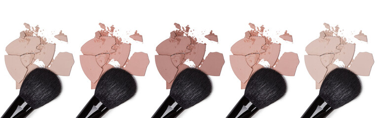 Different tones of cosmetic powder