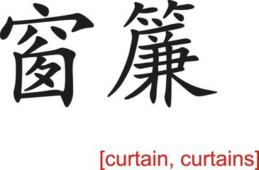 Chinese Sign for curtain, curtains