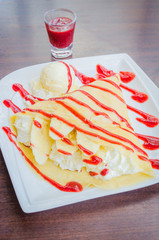 Strawberry crepe dessert