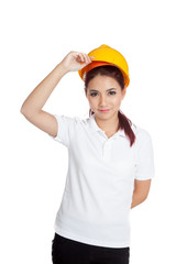 Asian engineer girl take of hardhat