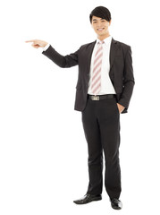 young business man standing and point out