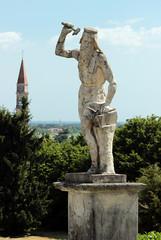 View of statue in the garden of Villa Barbaro, Italy