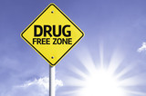 Drug Free Zone road sign with sun background poster