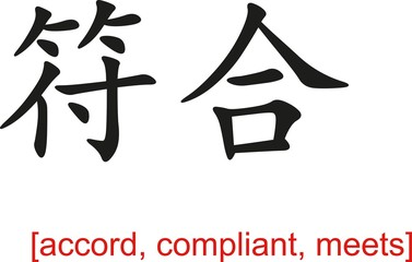 Chinese Sign for accord, compliant, meets