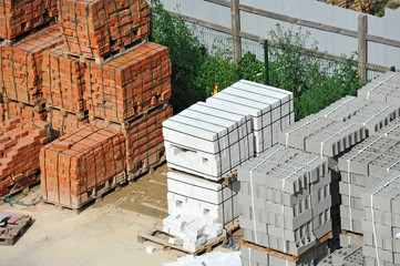Stack of brick in pallet on construction site