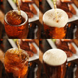collage of different beer splashes with chicken in background