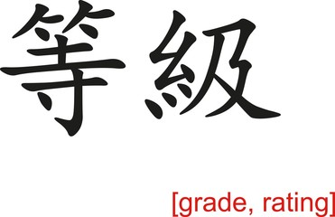 Chinese Sign for grade, rating