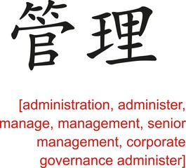 Chinese Sign for administration, management, senior management