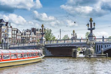Blauwbrug (Blue Bridge) in Amsterdam, Netherlands.
