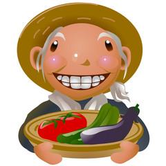 夏野菜 お婆さん
