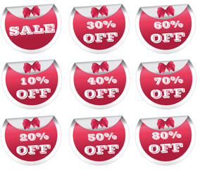 Red sale badges, labels, stickers