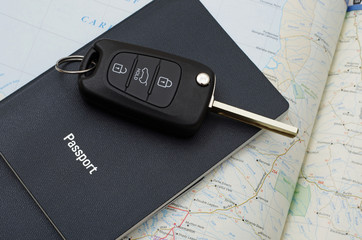 car key on blue passport