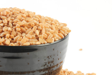 wheat in bowl & outside bowl isolated