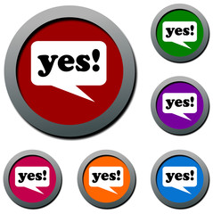 yes Speak balloon colored buttons icons 3D
