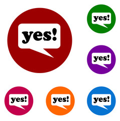 yes Speak balloon colored buttons icons