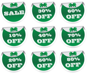 Sale stickers, price tags, labels, green