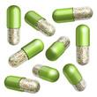 Medical green capsule with granules
