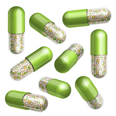 Medical green capsule with granules