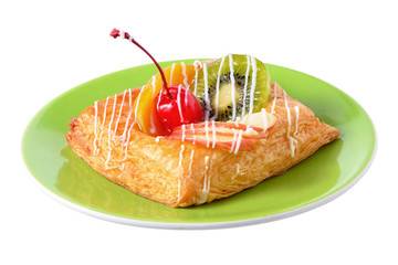 danish pastry with fruits on dish