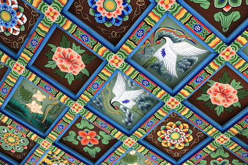 Decoration on ceiling of Bongeunsa temple, South Korea