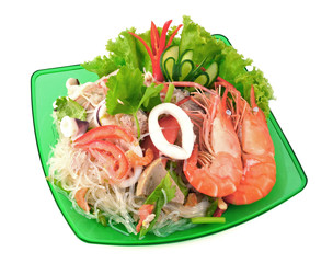 Thai spicy seafood and vermicelli Salad.
