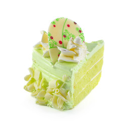 Piece of pandan cake