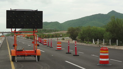 Detour Sign Construction Pylons Highway Close