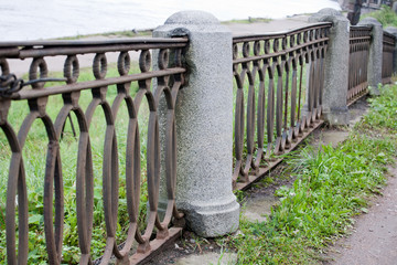 old embankment fence