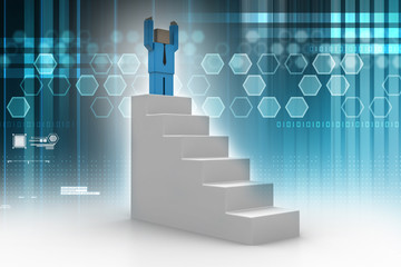 Success concept, 3d man standing on top