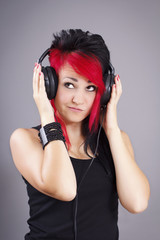 Attractive young woman with headphones