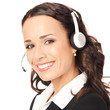 Support phone operator in headset, on white