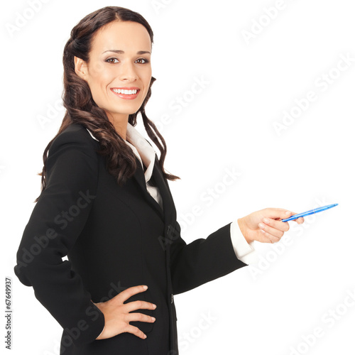 canvas print picture Businesswoman showing, over white