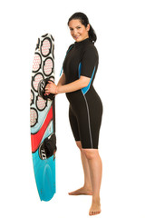 Proud surfer woman