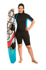 Surfer woman with surfboard