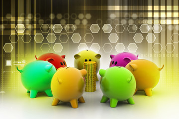 group of piggybanks around with gold coins