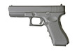 Leinwanddruck Bild - side view of handgun on pure white background